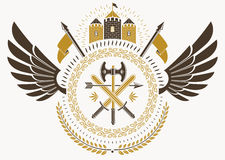 Vintage heraldry design template with bird wings, vector emblem. Created with medieval castle and armory Royalty Free Stock Photos