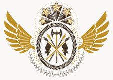 Vintage heraldry design template with bird wings, vector emblem. Created with pentagonal stars and armory Royalty Free Stock Image