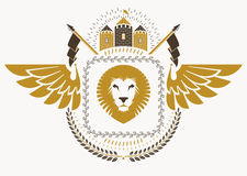 Vintage heraldry design template with bird wings, vector emblem Royalty Free Stock Photo