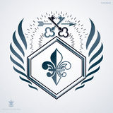 Vintage heraldry design template, vector emblem created with sec. Urity keys Vector Illustration