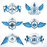 Vintage heraldry design templates, vector emblems created with b Royalty Free Stock Photos