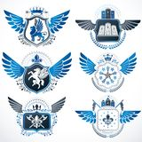 Vintage heraldry design templates, vector emblems created with b. Ird wings, crowns, stars, armory and animal illustrations. Collection of vintage style symbols Stock Photos