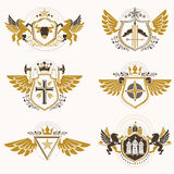 Vintage heraldry design templates, vector emblems created with b Stock Image