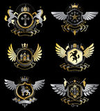 Vintage heraldry design templates, vector emblems created  Royalty Free Stock Images