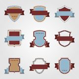 Vintage heraldry shields and ribbons retro style. Set Stock Photos