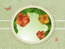 Vintage hibiscus border Stock Photo