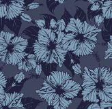 Vintage Hibiscus Repeat Pattern vector illustration