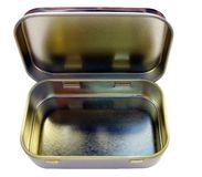 Vintage hinged tin can Stock Photo