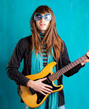 Vintage hip heavy seventies guitar playe. Humor retro vintage hip heavy seventies guitar player with sunglasses Stock Photo