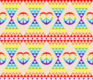 Vintage hippie seamless background with rainbow, hippie symbol, psychedelic abstract triangle colorful pattern. Vintage hippie seamless background with rainbow royalty free illustration