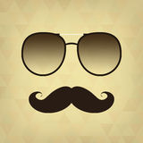 Vintage hipster background. Sunglasses and mustache Stock Photography