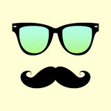 Vintage hipster  background.  Sunglasses and mustache. Royalty Free Stock Photo