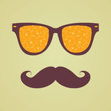 Vintage hipster background. Sunglasses reflection orange Stock Images
