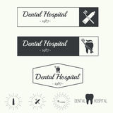 Vintage hipster banners, insignias with tooth. Stock Photos