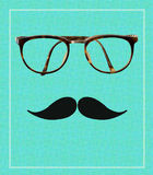 Vintage hipster glasses and mustache Stock Photography