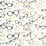 Vintage hipster glasses seamless pattern gold Royalty Free Stock Images