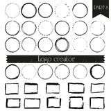 Vintage, hipster handdrawn logo elements with squares and circles. stock illustration