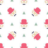 Vintage hipster hat and mustache symbol seamless pattern Stock Image