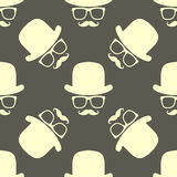 Vintage hipster hat and mustache symbol seamless pattern Stock Images