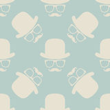 Vintage hipster hat and mustache symbol seamless pattern Stock Photography
