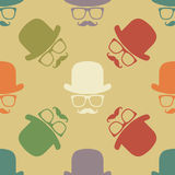 Vintage hipster hat and mustache symbol seamless pattern Stock Photos