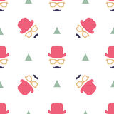 Vintage hipster hat and mustache symbol seamless pattern Royalty Free Stock Image