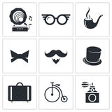 Vintage Hipster Icons icons set Royalty Free Stock Photos