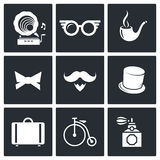 Vintage Hipster Icons set Royalty Free Stock Images
