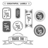 Vintage hipster label with thank you vector eps Stock Image