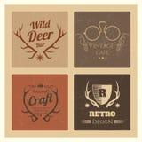 Vintage hipster labels set. Trendy grunge logo vector for cafe and brand Stock Photos