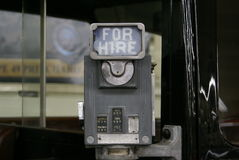 Vintage For Hire Sign. This for hire sign was attached to an old taxi cab Stock Image