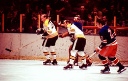 Vintage Hockey Boston Bruins v. New York Rangers Royalty Free Stock Photography