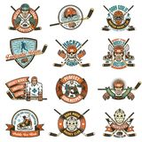 Print. Vintage Hockey logos for teams, leagues, competitions. Ideal for printing on T-shirts vector illustration