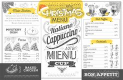 Vintage  christmas menu design. Restaurant menu Royalty Free Stock Photography
