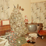 Vintage Holidays Picture, Christmas, Tree Stock Photo