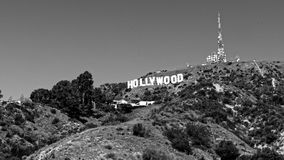 Hollywood, California sign on hillside. Vintage Hollywood sign on hillside of California in black and white royalty free stock photos