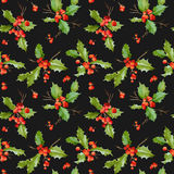 Vintage Holy Berry Background - Seamless Christmas Pattern Stock Photo