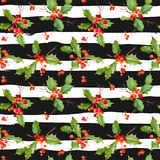 Vintage Holy Berry Background - Seamless Christmas Pattern Royalty Free Stock Photo