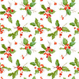 Vintage Holy Berry Background - Seamless Christmas Pattern Royalty Free Stock Photos
