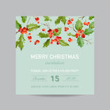 Vintage Holy Berry Christmas Card - Winter Background Invitation Royalty Free Stock Images