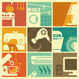 Vintage home appliances icons Stock Photography