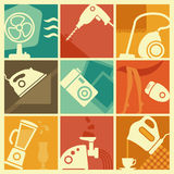 Vintage home appliances icons. Vector illustration in retro-style - set of home appliances Royalty Free Stock Image