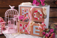 Vintage home still life in romantic style Stock Images