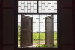 Vintage home style window  outside countryside view Royalty Free Stock Photography