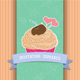 Vintage homemade cupcakes poster Royalty Free Stock Photo