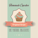 Vintage homemade cupcakes poster Stock Image
