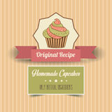 Vintage homemade cupcakes poster Stock Photos