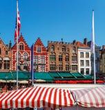 Vintage Homes on Market Square, Bruges Royalty Free Stock Images