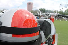 Vintage honda motorcylcle and helmet. Close up of vintage honda motorcylcle and helmet at boca raton concours d'elegance 2012 Stock Image