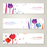 Vintage horizontal banners set with watercolor royalty free illustration
